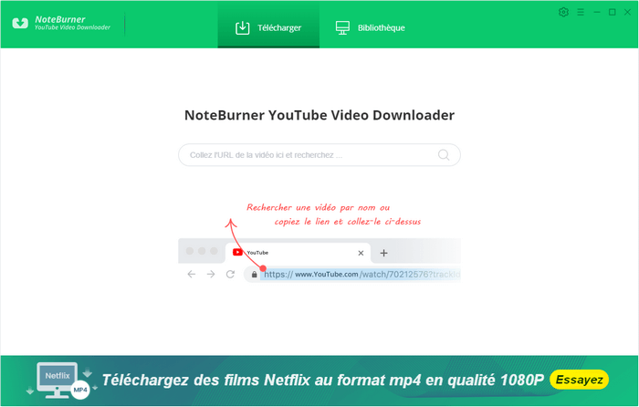 Interface principale de NoteBurner YouTube Video Downloader pour Windows