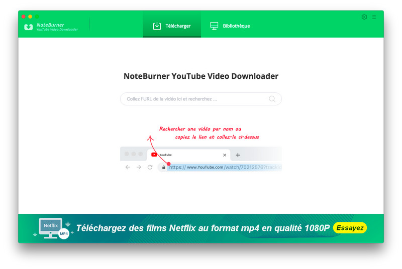 Interface principale de NoteBurner YouTube Video Downloader pour Mac